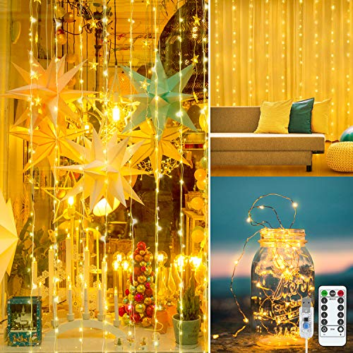 LightsEtc Window Curtain String Lights, 300 LED USB Powered String Curtain Lights with Remote, Waterproof Decorative Lights for Party Wedding Home Garden Outdoor Indoor Wall Decoration, 9.8 x 9.8 ft