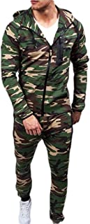 Men's Camo Hoodied Sweatshirt Pants Slim Fit Jogging Track Suit 2 Piece