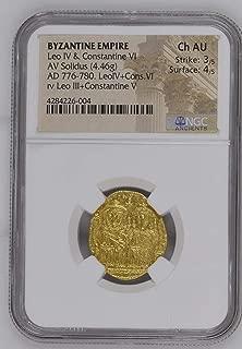 776 IT Leo IV & Constantine VI Byzantine Gold Solidus CH AU NGC