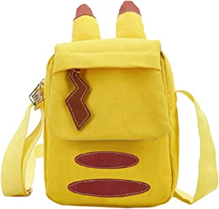 GK-O Cute Pikachu Pattern Shoulder Bag Backpack Unisex Yellow Anime Canvas Bag Cosplay