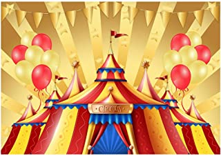 Funnytree 7X5ft Gold Circus Theme Birthday Party Backdrop for Photography Big Top Tent Carnival Carousel Baby Boy Girl Background Cartoon Balloon Cake Table Decor Banner Photobooth Studio Props