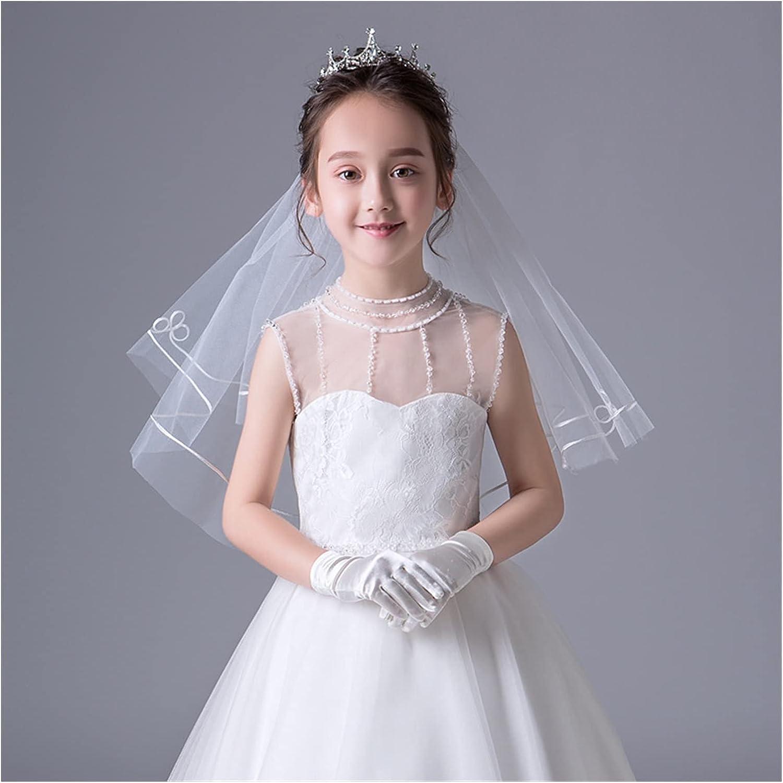 Beautiful Simple Flower Girl Veil Children Princess One Layer Short Veil Kids Veil Weedding Accessoire Headband (Color : Ivory)