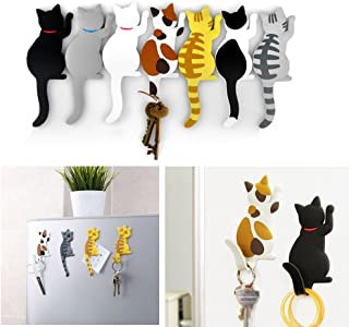 Comidox Cute Multifunction Cat Magnetic Refrigerator Sticker Fridge Magnet Hanging Hook 2 in 1 Gray cat/Black White cat/Ye...