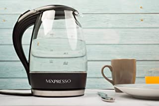 Mixpresso Electric Glass Kettle with speed boil tech I 1.7 Liter Capacity I Cordless with LED illumination I Borosilicate I BPA Free I Auto Shut-off I Boil Dry Protection |1500 Watt