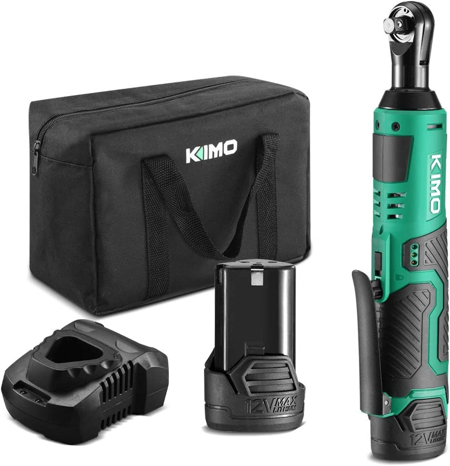 KIMO 12V Lithium-Ion Cordless Electric Ratchet Wrench 3/8-Inch