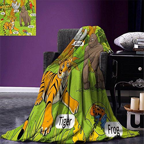 smallbeefly Manta de microfibra cálida para cama o sofá, educativa, ilustración de las partes de los nombres del cuerpo, diseño de dibujos animados, color azul pálido y marrón
