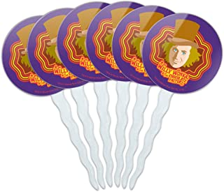 GRAPHICS & MORE Willy Wonka and The Chocolate Factory Willy Wonka Cupcake Picks Toppers Decoration Set of 6