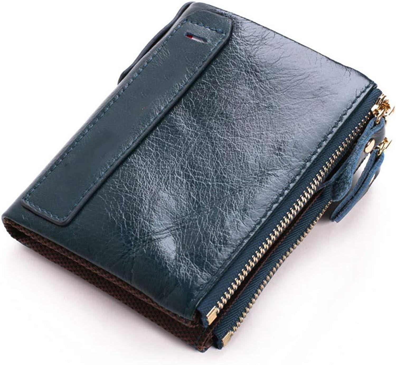 Happyplus1 Dual-Reißverschluss-Geldbörse Dual-Reißverschluss-Geldbörse Dual-Reißverschluss-Geldbörse mit kurzem Reißverschluss RFID-Blockier-ID-Fenster 2-Fach Retro Stilvolle Geldbörse (Farbe   Blau406) B07MX6FPH2 a044ed