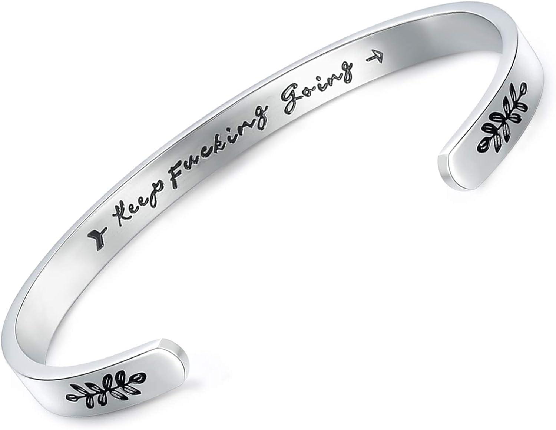 CERSLIMO Inspirational Bracelets for Women, Stainless Steel Engraved Mantra Quote Positive Saying Keep Going Bracelets Cuff Bangle Motivational Encouragement Keepsakes for Men Teens Girls