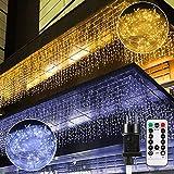 B-right Cortina de Luces, 440 LED Cortina de Luces de Hada Interior luces de navidad Luces frío blanco cálido Cortina de Luz de LED para Decoración de Ventana Patio Balcón Bar Boda Blanco Guirnarldas
