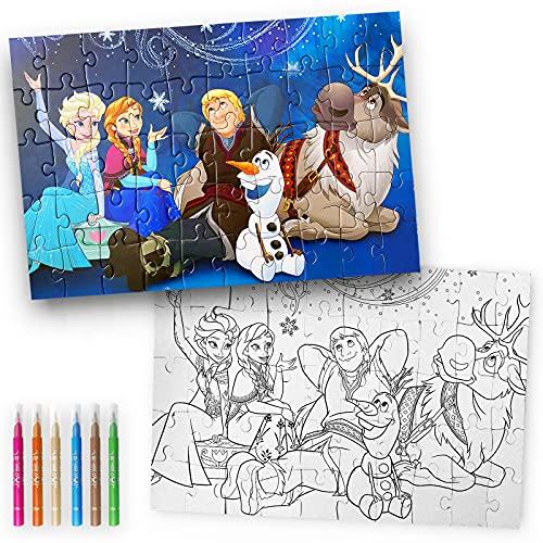 Puzzle para Colorear 50 Pzas y 6 Rotuladores. Rompecabezas Disney. Cars. Paw Patrol. Princesas Disney. Frozen. Juegos para Niños. Juegos Educativos. Puzzle Infantil. (Frozen)