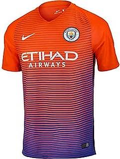 Men's Manchester City Third Stadium Soccer Jersey 2016/2017 (Large) Safety Orange, Persian Violet