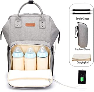 Nappy Bags Multi-function Waterproof Unisex Travel Backpack TUQI Baby Diaper Backpack with USB Charging Port Cable Insulated Bag Soft Changing Pad Stroller Straps Large Capacity Backpack