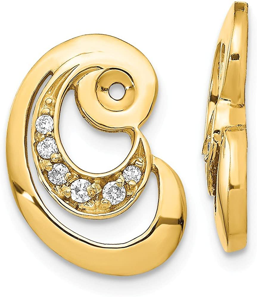 Solid 14k Yellow Gold A Unique Curl Diamond Earring Jacket - 17mm x 12mm (.148 cttw.)