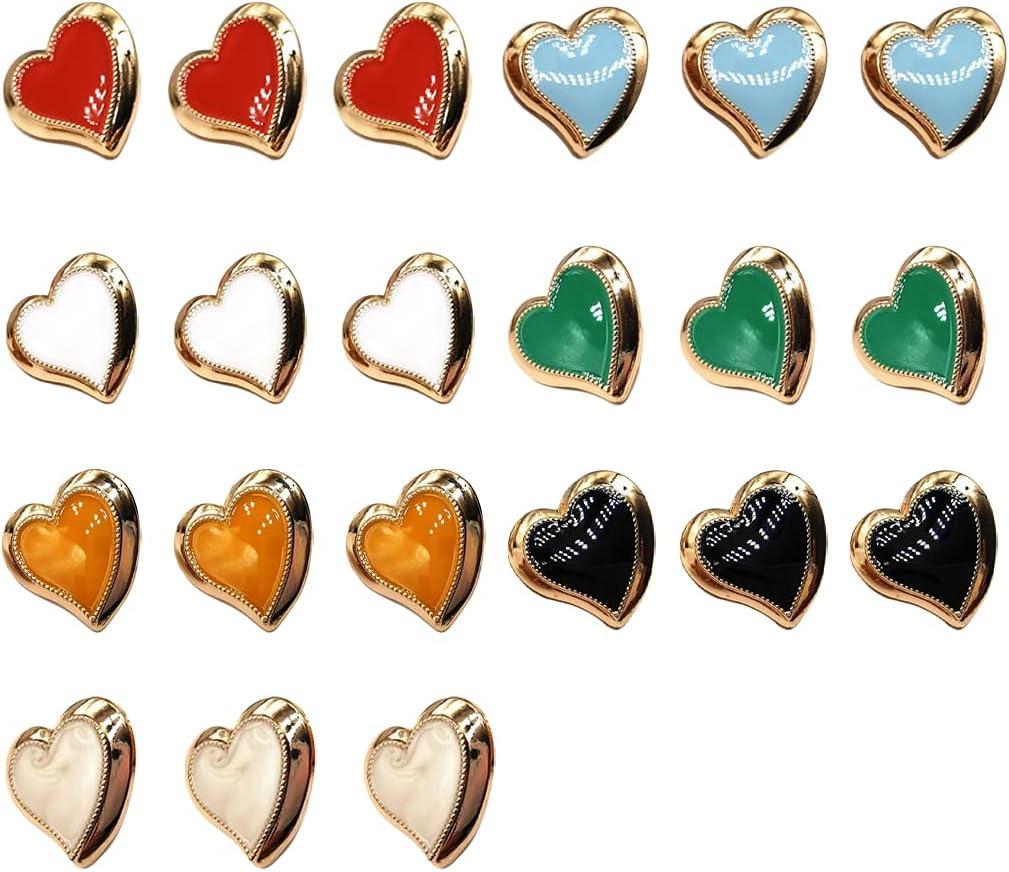 Craetive Love Heart Shape Sewing Shank Button for Shirt Windbreaker Coat Suit Sweaters Jackets Decoration Accessories 21pcs