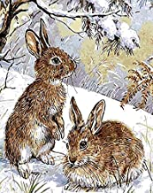 DIY Oil Paint by Number Kit for Adults Beginner 16x20 Inch - Snow Bunnies,Drawing with Brushes Christmas Decor Decorations Gifts (Framed)