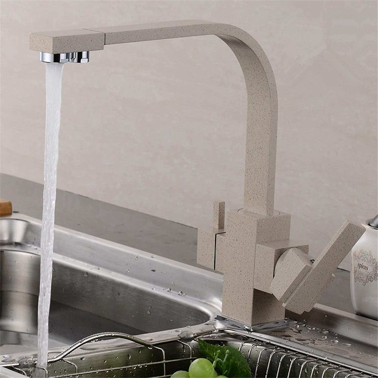Lpophy Bathroom Sink Mixer Taps Faucet Bath Waterfall Cold and Hot Water Tap for Washroom Bathroom and Kitchen Copper Hot and Cold redatable Oatmeal D