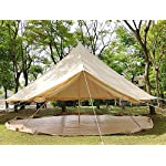 Beige Cotton Canvas, Waterproof PU Coating Bell Tent yurt Tent with a Zipper for Family Camping or Extended Camping Trip reconstruct Houses 4