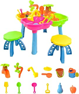 boppi 4-Section Childrens Sand and Water Table with 13 Play Accessories & 2 Stools