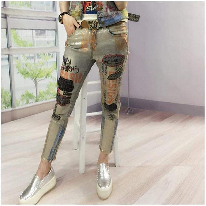 DishyKooker New Hot Summer Fashion Bronzing Letter Print Boyfriend Skinny Women women Jeans Female Pencil Pants Vintage