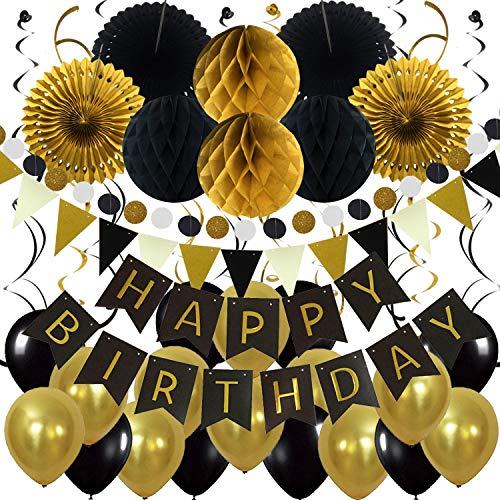 Zerodeco Birthday Party Decoration, Happy Birthday Banner with Paper Fans, Honeycomb Balls, Triangular Pennants, Circle Paper Garland, Hanging Swirls and Balloons - Black, Gold and Gray