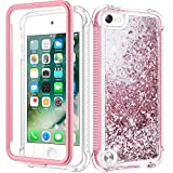 Caka iPod Touch 5 6 7 Case for Girls, iPod Touch Case 5th 6th 7th Generation Glitter Full Body Case Built in Screen Protector Bling Floating Liquid Cute Case for iPod Touch 5 6 7 (Rose Gold)