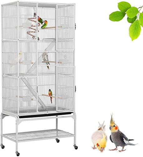 Yaheetech Grande Cage à Oiseaux 81 x 46,5 x 175,5 cm Volière Extérieur avec Pied sur Roulette pour Perroquet/Perruche...