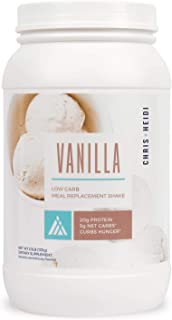 Chris + Heidi Low Carb Meal Replacement Shake Vanilla - Helps Curb Hunger, Promotes Weight Loss - 20g of Premium Protein, Daily Vitamin Blend - 28 Servings
