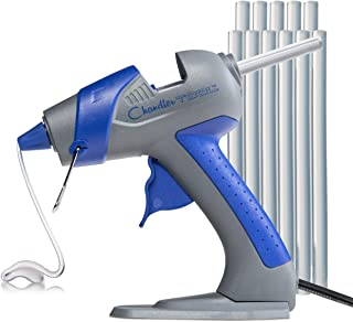 Chandler Tool Mini Glue Gun - 25 Watt Mini Size High Temp Hot Melt Mini Glue Gun Kit with 12 Pcs Mini Hot Glue Sticks, Patented Base Stand &, for Arts & Crafts, DIY & More (Blue)