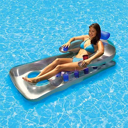 snowvirtuos Aufblasbare Luftmatratze Schwimm Reihe Sommer PVC Wasser Hängematte Schwimmende Bett Loungesessel Pool Badelounge Wasserhängematte Bett Liege für Pool im Freien und drinnen