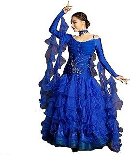 Q-JIU Donna Moderna Danza Valzer Ad Alta Densità Filato Manica Lunga Danza Gonna Ballo Sala da Ballo
