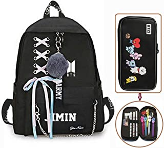 Hosston Kpop BTS Newest Printing Backpack, Bangtan Boys School Backpack College Bag with 1 Pcs Large Capacity Pencil Case Nice Gift for Kids Children Teenagers and BTS Fans(Style 19)