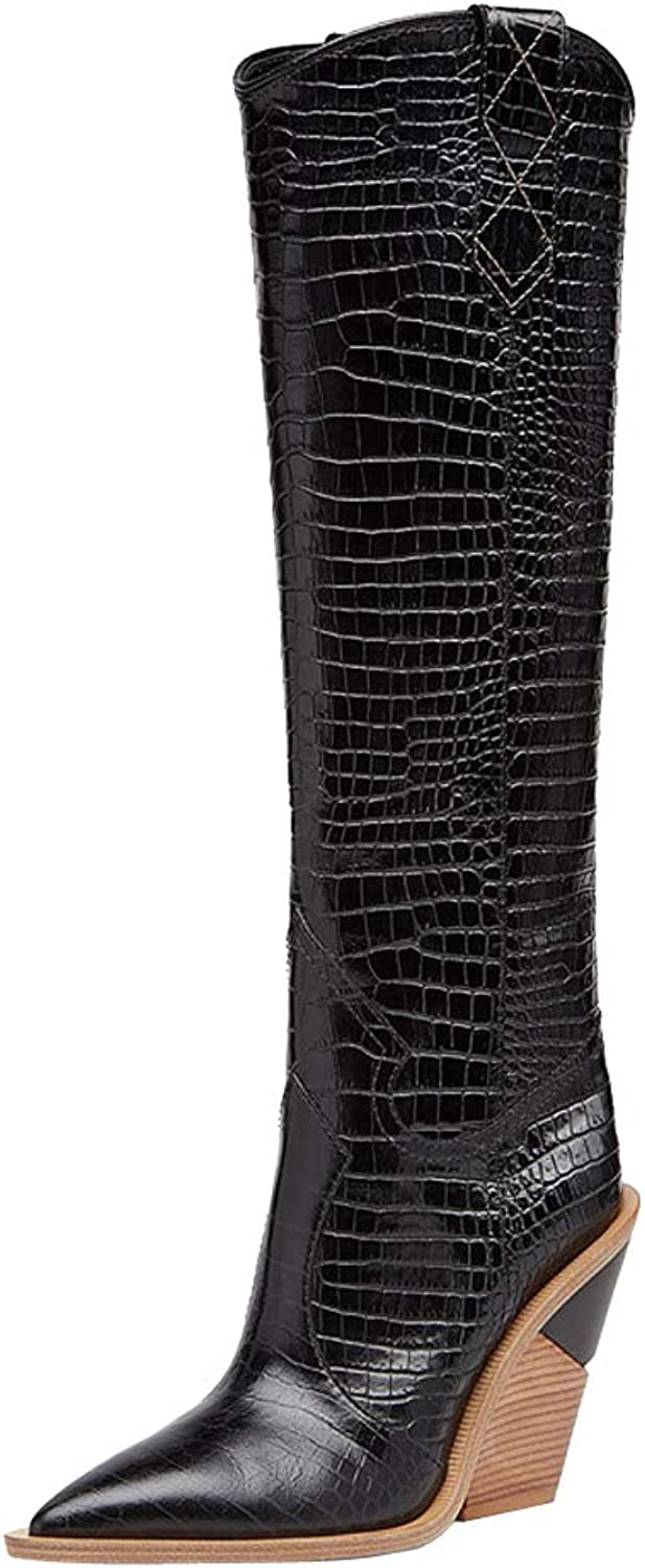 Themost Over The Knee High Boot Womens Cowboy Western Thigh High Boots Wedge Heel shoes Mid Calf Combat Booties Black