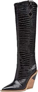 Best black knee high cowboy boots Reviews