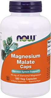 Now Foods Supplements, Magnesium Malate Caps with 95 mg of Elemental Magnesium, Nervous System Support*, 180 Veg Capsules