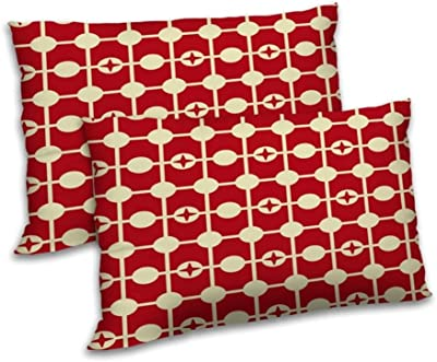 RADANYA Geometric Printed Polyester Pillow Cover Set Rectangular Bedding Throw Living Room Cover - Red & Cream,12x18 Inch