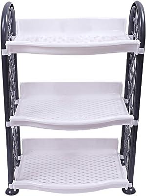 Kuber Industries Plastic 3 Layer Multipurpose Storage Rack (Grey) -CTLTC12585