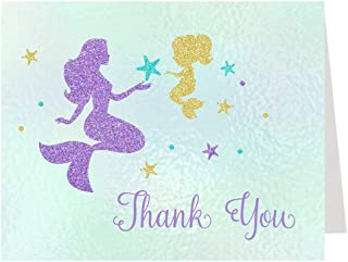 Mermaid Thank You Cards Mommy and Me Mystical Creature Baby Shower Fantasy Sprinkle Under The Sea Underwater Thanks Purple Gold Blue Glitter Sparkle Girly Girls It's A Girl Baby Stationary (50 Count)