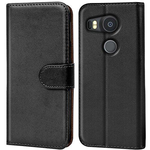 Conie Handyhülle für Google Nexus 5X Hülle, Premium PU Leder Flip Hülle Booklet Cover Weiches Innenfutter für Nexus 5X Tasche, Schwarz