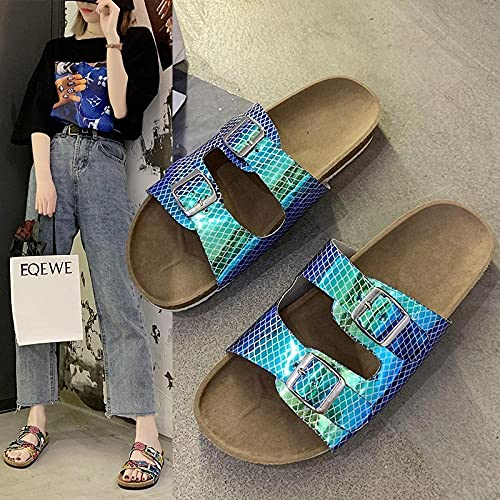 COQUI Sandalen für Mädchen, große Größe, dicker Boden, Pailletten, Sandwalp, Damenschuhe, Weichholz, Strandpantoffel, blau_39