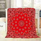 Mugod Western Paisley Throw Blanket Bandana Seamless Pattern with Red and White Ornaments Decorative Soft Warm Cozy Flannel Plush Throws Blankets for Bedding Sofa Couch 40 X 50 Inch