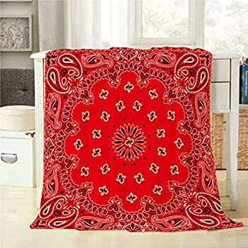 Mugod Western Paisley Throw Blanket Bandana Seamless Pattern with Red and White Ornaments Decorative Soft Warm Cozy Flannel Plush Throws Blankets for Bedding Sofa Couch 60 X 80 Inch