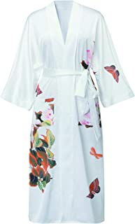 Honeystore Women's Floral Kimono Robe Satin Long Cover Up Nightgown Sleepwear