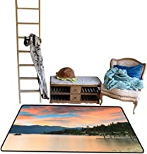 Indoor Floor mat,Romantic Sunset at Lake Tahoe Peaceful Shoreline Sierra Nevada United States 4'x6',Can be Used for Floor Decoration