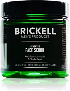 Brickell Men's Renewing Face Scrub for Men, Natural and Organic Deep Exfoliating Facial Scrub Formulated with Jojoba Beads...