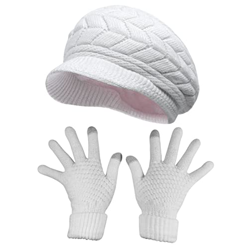 Winter White Gloves and Hat Set: