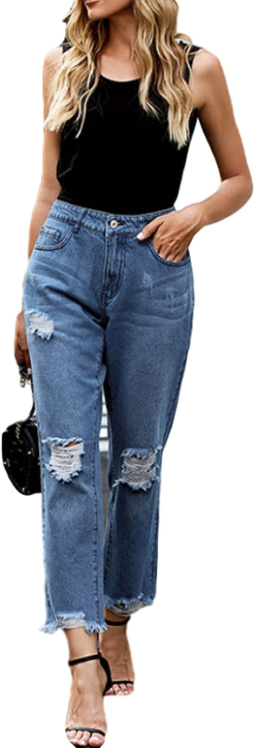 Women's Jeans Fashion Ripped Holes Washed Edges Leisur Daily Limited time for free shipping Cheap mail order shopping Raw