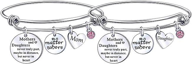 nobrand Mother Daughter Adjustable Bangle Bracelet Family Jewelry Graduation Gift