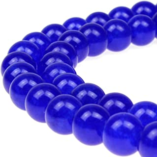 JARTC Stone Beads Sapphire Jade Round Loose Beads for Jewelry Making DIY Bracelet Necklace (8mm)