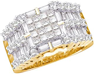 14kt Yellow Gold Womens Princess Baguette Diamond Cluster Ring 2.00 Cttw Ring Size 7
